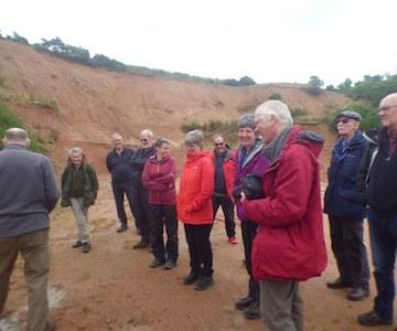 The group viewing soft granite at Lumphanan
